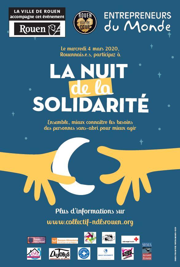 Affiche Nuit de la Solidarité 2020 Rouen
